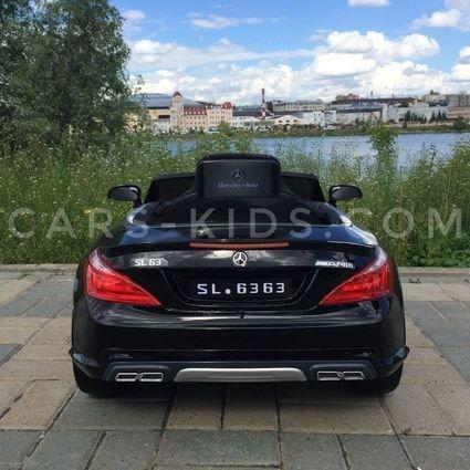 Электромобиль Mercedes-Benz SL63 AMG черный (колеса резина, кресло кожа, пульт, музыка)