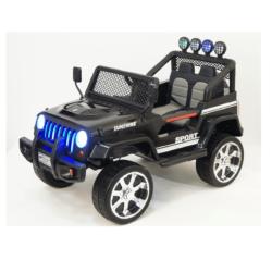 Электромобиль Jeep T008TT черный (2х местный, задний привод, колеса резина, кресло кожа, пульт музыка)