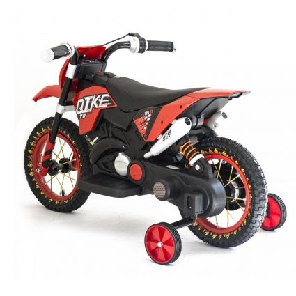 Детский кроссовый электромотоцикл красный Qike TD 6V - QK-3058-RED (колеса резина, кресло кожа, музыка, ручка газа)