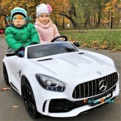 Электромобиль Mercedes-Benz GT R 4x4 MP4 - HL289-4WD белый (сенсорный дисплей MP4, колеса резина, кресло кожа, пульт, музыка, кондиционер)