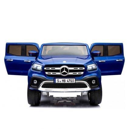 Электромобиль Mercedes-Benz X-Class 4WD MP4 синий (сенсорный дисплей, 2х местный, полный привод, резина, кожа, пульт, музыка)